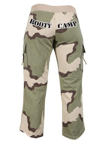 WOMENS TRI-COLOR DESERT CAMO ''BOOTY CAMP'' CAPRI SWEATPANTS