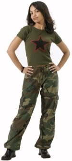 Womens Vintage Paratrooper Fatigue Pants - Camo - Woodland