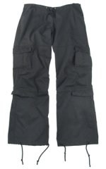 Womens Vintage Paratrooper Fatigue Pants - Solid - Black
