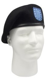 G.I. Type Black Inspection Ready Wool Beret w/Blue Flash