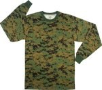 Long Sleeve Digital Camo T-Shirts - Woodland Digital
