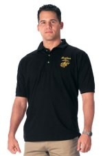 Black Military Embroidered Golf Shirts