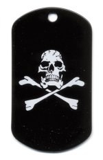 Skull & Crossbones Screen Printed Dog Tags