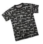 T-Shirt - Multi Print ''Guns'' - Black