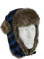 Flyer's Hat - Plaid Fur - Blue