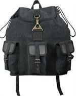 Leather & Canvas Wayfarer Backpack - Black